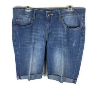 Faded Glory Size 12 Cuffed Denim Shorts Stretch